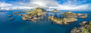 Panorama of Mortsund on Lofoten