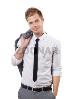 Portrait of a handsome businessman with jacket over his shoulder