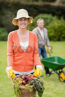 Cute couple doing some gardening