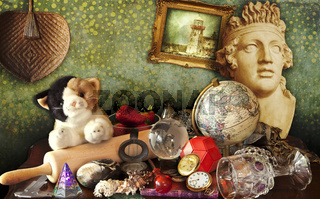 Mixed styles and objects still life with statue