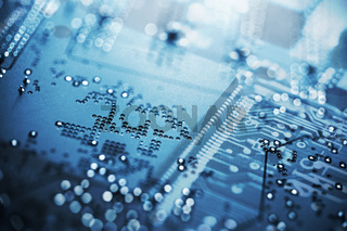 Blue Circuit Board, Microchip. Computerchip