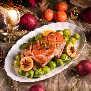 Christmas dinner with brussels sprouts in orange sauce