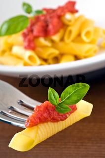 fresh garganelli on fork