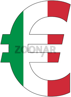 euro with flag of italy