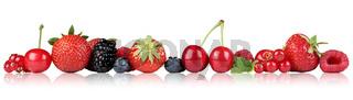 Beeren Früchte Erdbeeren Himbeeren Kirschen in einer Reihe