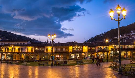 Plaza de Armas in historic center of Cusco, Peru