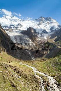Getting warmer - the glacier stream in Himalayas