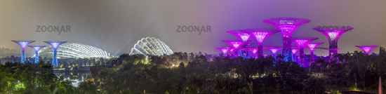 Panorama of Supertree Grove and Flower Dome in Gardens by the Bay