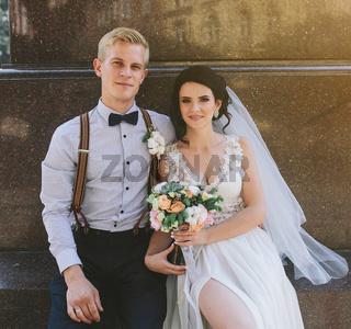 Wedding couple sitting