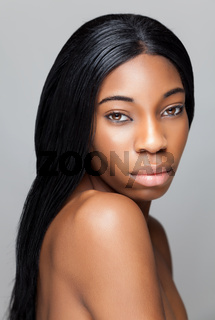 Young black beauty with perfect skin