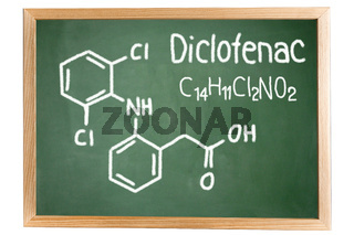 Blackboard with the chemical formula of Diclofenac