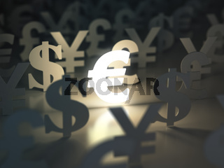 Euro, dollar , pound and yen signs. Currency exchange concept.