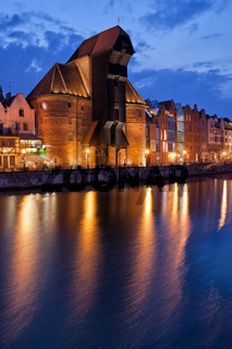 The Crane in Old Town of Gdansk at Night