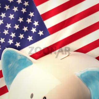 Composite image of piggy bank