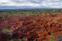 Overview Red sand stone formation of Tatacoa desert in Huila