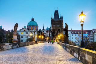 Charles bridge early in the morning