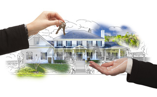 Handing Over Keys On House Drawing and Photo on White
