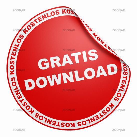 3D Aufkleber Rot - Gratis Download