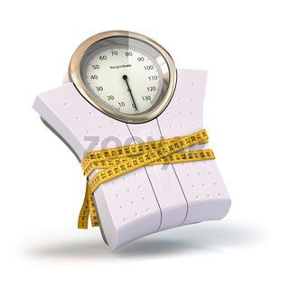 Weighting scales with  measuring tape. Diet concept.