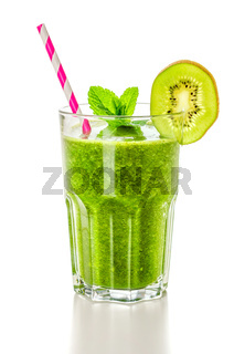 A green smoothie on a white background