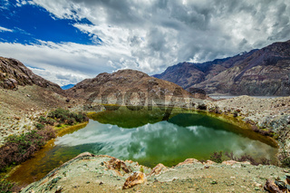 Sacred lake Lohan Tso in Himalayas