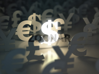Dollar, euro, pound and yen signs. Сurrency exchange concept.