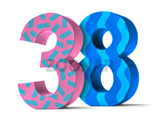 Colorful Paper Mache Number on a white background  - Number 38