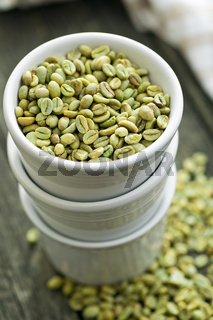 green coffee beans in white bowl