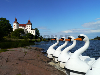 Schwäne als Tretboot vor dem Schloß Läckö, Schweden