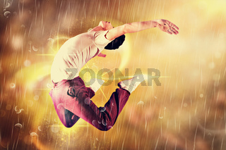 Composite image of cool break dancer