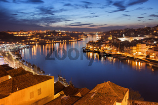 City of Porto at Night in Portugal.