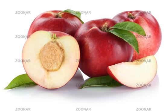 Nektarine Nektarinen Frucht frische Früchte geschnitten Hälfte Freisteller freigestellt isoliert