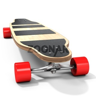 3d wooden longboard, skateboard with red wheels