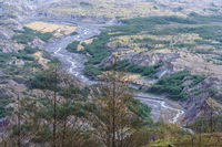 River flowing from Mount St. Helens in Washington USA
