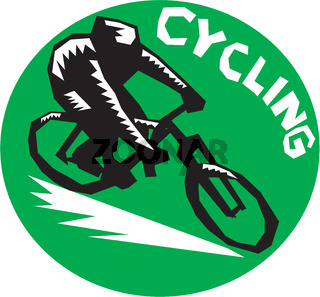 Cyclist Riding Bicycle Cycling Circle Woodcut