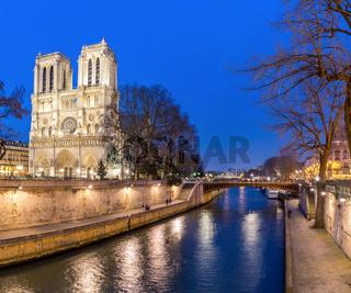 Paris Notre Dame at dusk