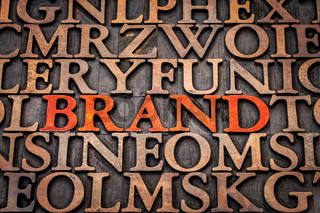 brand word abstract in wood type