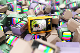 Choice of best channel concept. Heap of vintage tv.  Conceptual background.