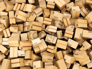 Stack of cardboard delivery boxes or parcels. Warehouse concept background.