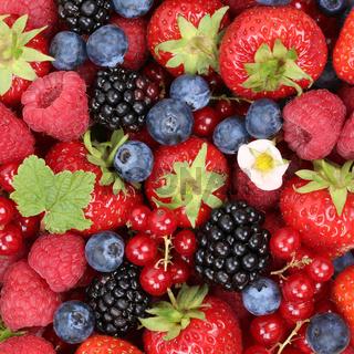 Früchte Beeren Hintergrund mit Erdbeeren, Himbeeren und rote Johannisbeeren im Sommer