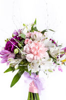 Pastel bouquet from pink and purple gillyflowers
