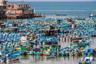 Salinas, Ecuador - September 17, 2011: Fishing boats crowded in the Bay of Santa Elena