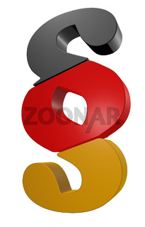 paragraph symbol in schwarz rot gold - 3d illustration