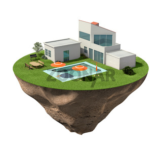 Villa house with buildings and swimming pool