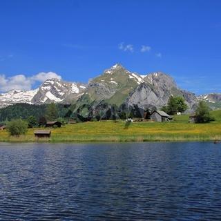 Alpstein Range and lake Schwendisee