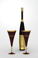 Champagne flute with bottle.