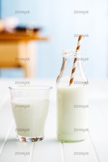 Fresh milk in glass bottle.