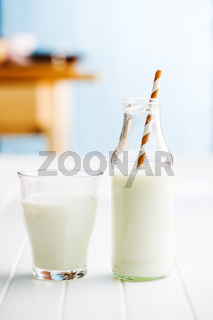 Fresh milk in glass bottle.