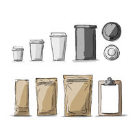 Bag packaging and take away coffee cups