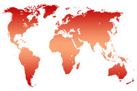 red gradient world map, isolated